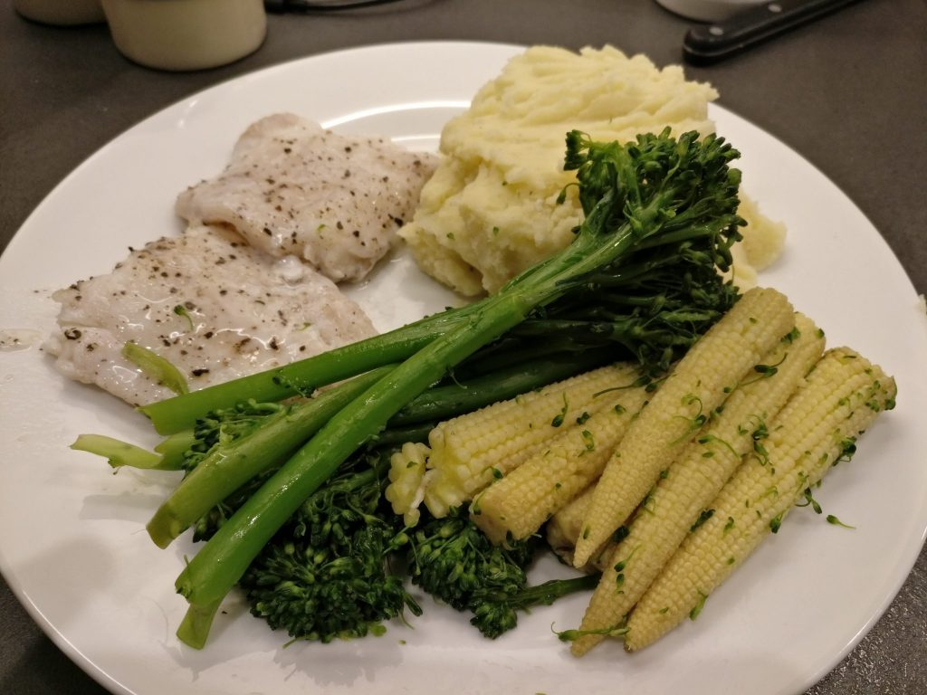 Cod, Mash, Baby Sweet Corn, and Tender Stem Broccoli